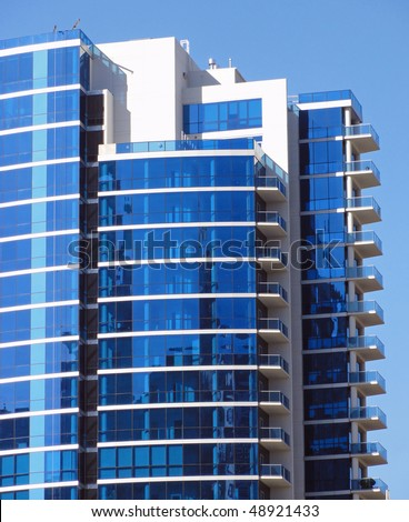 beautiful example of curved blue glass used in the