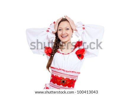 beautiful excited girl in ukrainian polish national traditional costume clothes happy smile, portrait isolated over white background