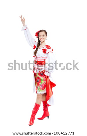 beautiful excited girl in ukrainian polish national traditional costume clothes happy smile holding arms and hands up, full length portrait isolated over white background