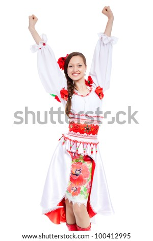 beautiful excited girl in ukrainian polish national traditional costume clothes happy smile holding arms and hands up, portrait isolated over white background