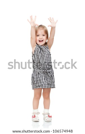beautiful excited little girl hold hands up happy isolated on a white background