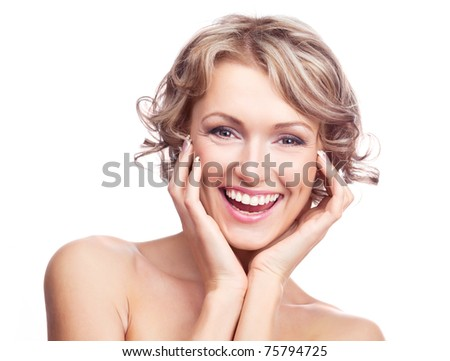 beautiful excited young woman, isolated against white