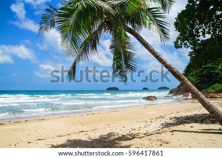 Beautiful exotic beach without people at Koh Chang Island in Thailand #596417861