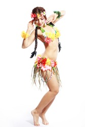 Beautiful exotic girl with Hawaiian accessories