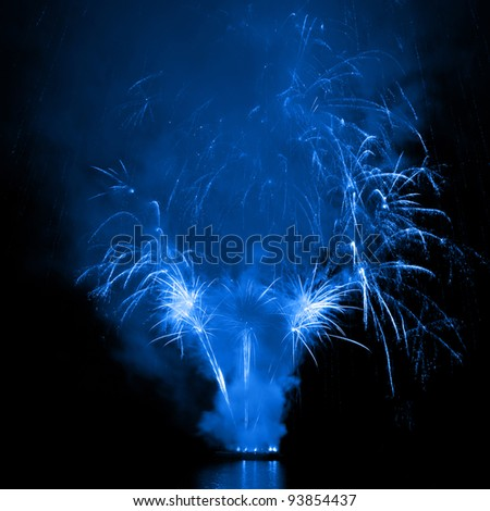 Beautiful explosions of fireworks in the night sky