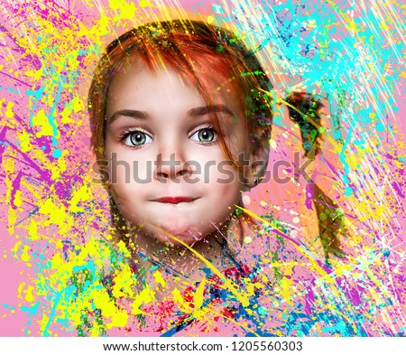 Beautiful expressive adorable happy cute laughing smiling baby infant toddler girl with horse tail showing teeth. Surprise. Emotion of joy, emotion of delight, emotion of surprise #1205560303