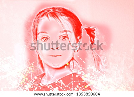 Beautiful expressive adorable happy cute laughing smiling baby infant toddler girl with horse tail showing teeth. Surprise. Emotion of joy, emotion of delight, emotion of surprise