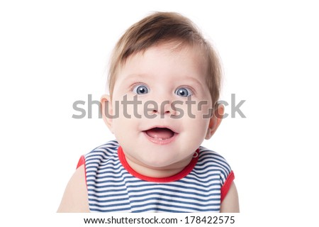Beautiful expressive adorable happy cute smiling baby