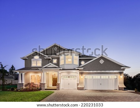 Beautiful Exterior of New Home at Twilight #220231033