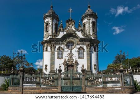 Beautiful external view of Igreja São Francisco de Assis (São Francisco de Assis Church) at Minas Gerais - São João del Rei, Minas Gerais, Brazil Foto stock ©