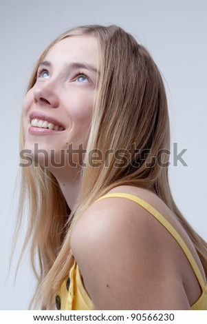 Beautiful eyes or girl in love - stock photo
