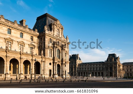 Beautiful facade of French Building at the Louvre.