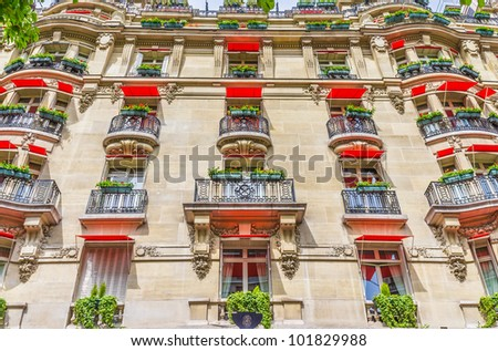 Beautiful facade of the expensive hotel, Paris, France