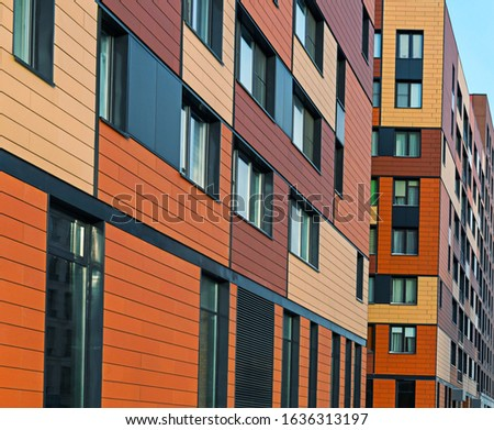 Beautiful facades in a modern residential building. Residential complex In the forest, Moscow, Russia
