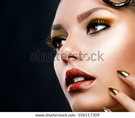 Beautiful Face Makeup close-up. Perfect Healthy Skin