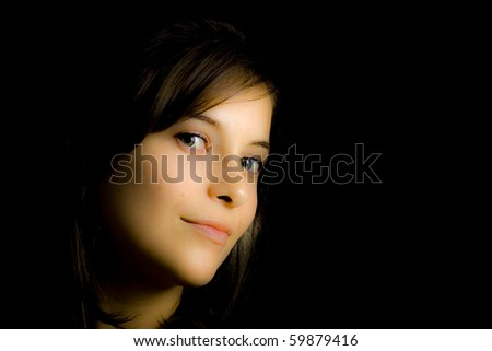 beautiful face of a  model with black background
