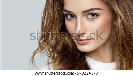 Beautiful face of female model #590224379