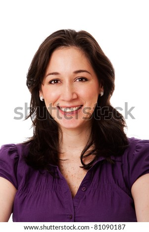 Beautiful face of happy smiling corporate business woman, isolated.