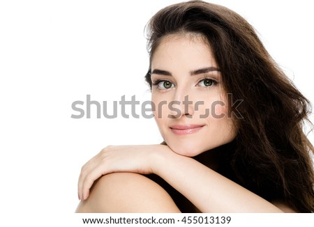 Beautiful Face of Young Woman Model with Clean Fresh Perfect Healthy Skin. Age and Health Concept. Beauty Woman Portrait isolated on white