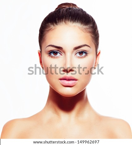 Beautiful Face of Young Woman with Clean Fresh Skin close up isolated on white. Beauty Portrait. Beautiful Spa Woman Smiling. Perfect Fresh Skin. Pure Beauty Model. Youth and Skin Care Concept  #149962697