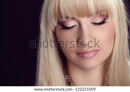 Beautiful Face. Professional Makeup. Fashion Blond Model Portrait.