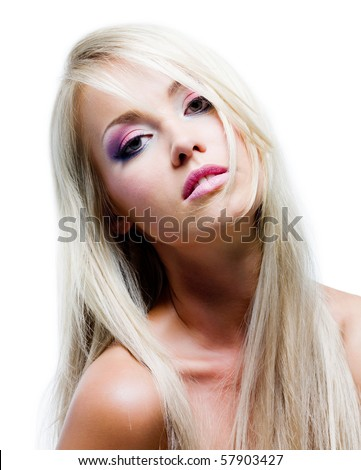 Beautiful face with vibrant colors of make-up and straight long hair