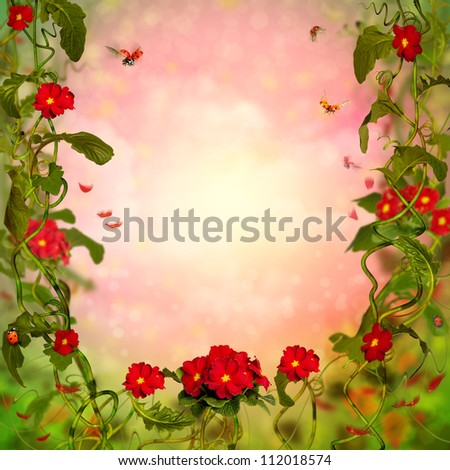 Beautiful Fairy tale Background with Primula
