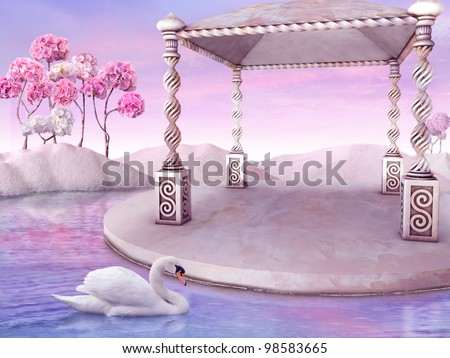 Beautiful Fairy tale Landscape with white Swan