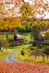 Beautiful Fall colors with farm house in New England in USA