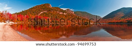 Beautiful fall panorama of Echo Lake, Franconia Notch. White Mountains, New Hampshire