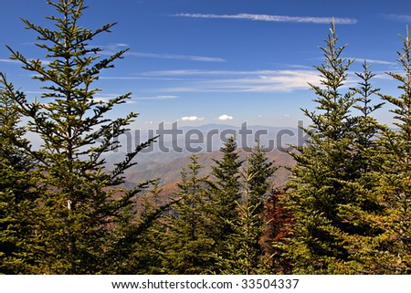Beautiful Fall scenic view of trees and mountains on the Blue Ridge Parkway in Virginia USA