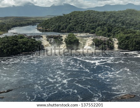 Beautiful falls in the lagoon of the Canaima national park (view from the plane) - Venezuela, Latin America