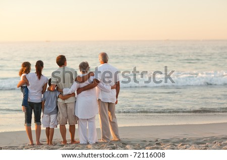 Beautiful family at the beach