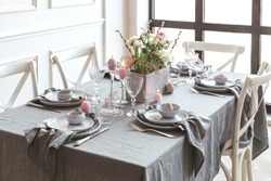 Beautiful family dinner table decor. Table decor concept. Luxury home.