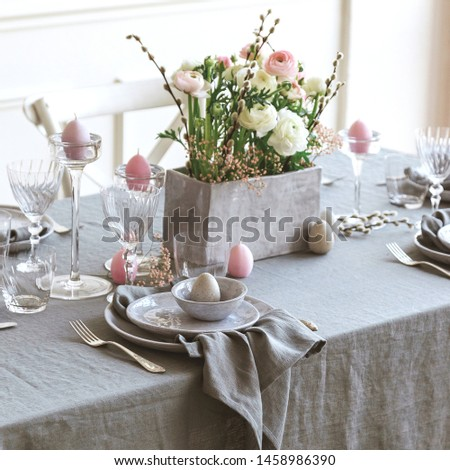 Beautiful family dinner table decor. Table decor concept. Luxury home.