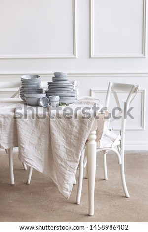 Beautiful family dinner table decor. Table decor concept. Luxury home. #1458986402