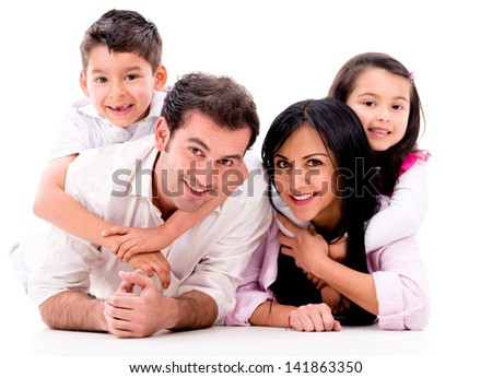 Beautiful family portrait - isolated over a white background