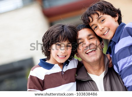 Beautiful family portrait with a group boys smiling