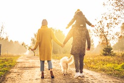 Beautiful family with small son and a golden retriever dog on a walk in autumn sunny nature. Happy couple holding hands. Back view.