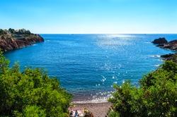 Beautiful famous view on cote d'azur (Cote de Azur, dazur), blue sky, sea. Plage Abel Baliff, french riviera, nearby Saint-Raphael, Frejus, between Cannes and Saint-Tropez. France, Provence
