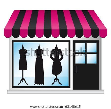 Beautiful fashion boutique with clothes in the shop window.