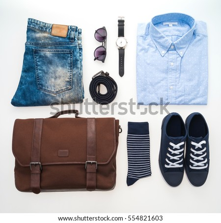 Beautiful fashion clothes set for men isolated on white background #554821603