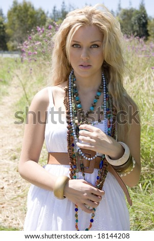 beautiful fashion model outdoors