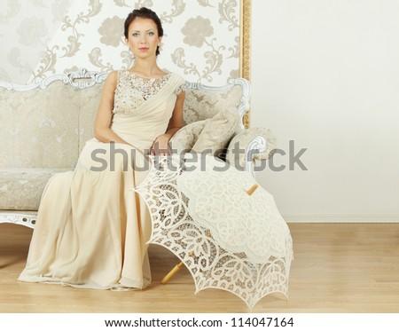 Beautiful fashion model, portrait - stock photo