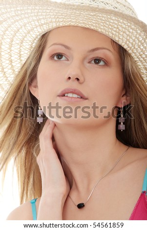 Beautiful Fashion Model Wearing A Retro Summer Hat
