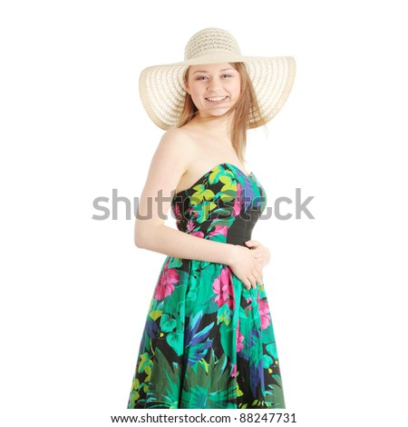 Beautiful Fashion Model Wearing A Retro Summer Hat, isolated