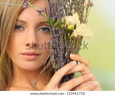 Beautiful fashion model with natural makeup, spring season