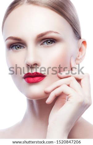 Beautiful fashion model Woman with blond hair, Red lipstick. Portrait of glamour girl with bright makeup isolated on white background. Beauty female face close up with perfect make up #1520847206