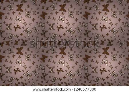 Beautiful fashion pattern with butterflies. Fashion cute fabric design. Fantasy illustration. Raster illustration. Illustration in neutral, brown and white colors.