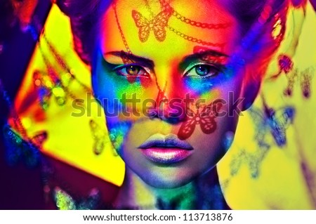 beautiful fashion woman color  face art butterfly shadow